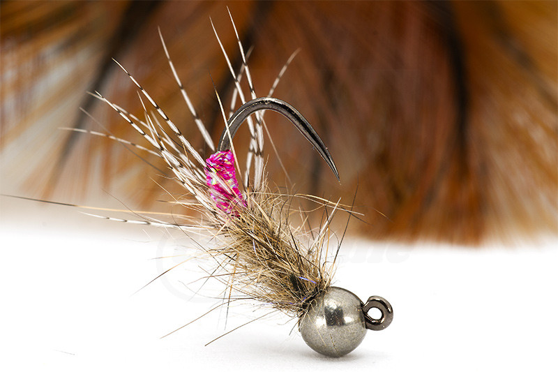 size 12 Pink Marabou Tail Beaded buzzers // Nymph Trout Fly For Fly Fishing